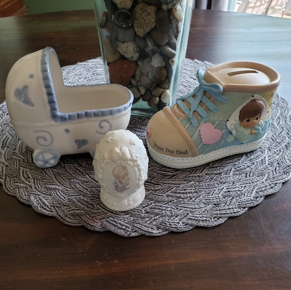 Precious Moments Other - Baby bank and decor precious moments and other